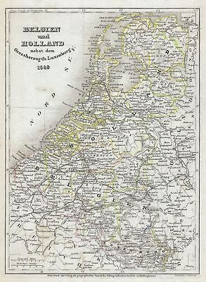 1849 Meyer Map of Holland (The Netherlands) and Belgium and Luxembourg