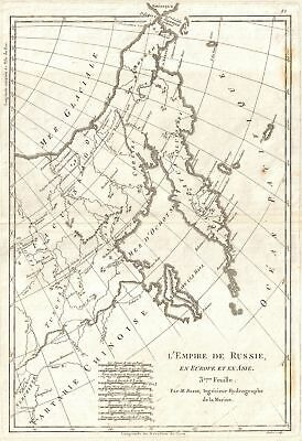 1780 Bellin Map of Eastern Russia, Tartary, and the Bering Strait