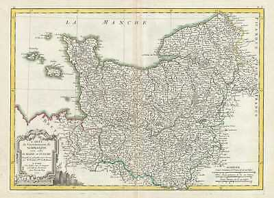 1771 Bonne Map of Normandy, France