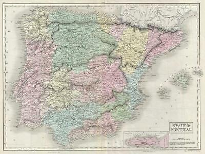 1851 Black Map of Spain and Portugal