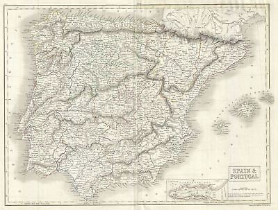 1844 Black Map of Spain and Portugal
