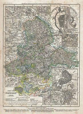 1849 Meyer Map of the Province of Saxony, Germany