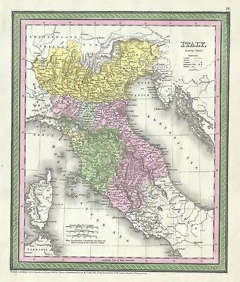 1854 Mitchell Map of Northern Italy (Tuscany, Venice, Milan)