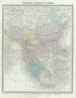 1874 Tardieu Map of Greece and the Balkans