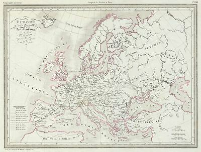 1843 Malte-Brun Map of Europe after the Barbarian Invasion