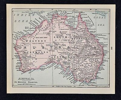 1900 McNally Map - Australia Sydney Melbourne Perth Brisbane Adelaide Botany Bay