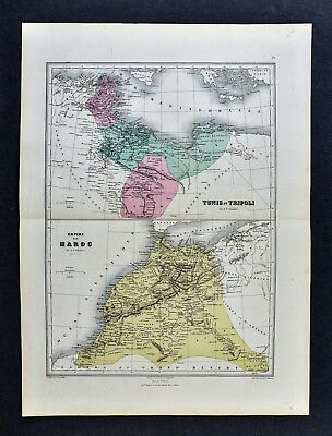 1877 Migeon Map - Morocco - Tunis & Tripoli - Tangier Barbary Coast North Africa