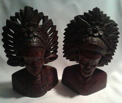 Vtg Bust - Pr. Balinese Bali Indonesia Figure Heads Hand Carved Wood Ethnic