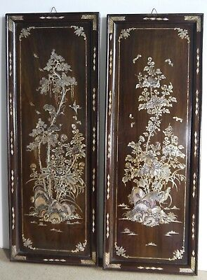 Pair Of Panels China Or Indochina Antlers Iron Decoration Mother-Of-Pearl Floral
