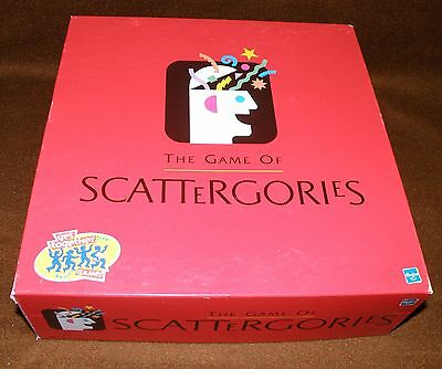 Hasbro 1999 SCATTERGORIES Table Game Ages 12 to Adult Boys & Girls COMPLETE GOOD