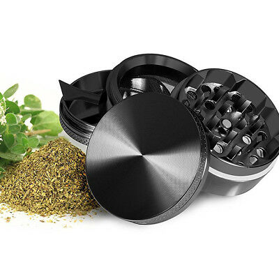 4 Piece Magnetic 1.5 Inch Black Tobacco Herb Grinder Spice Aluminum With Scoop