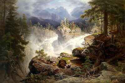 Hd Giclee Print Bear & Waterfall Landscape Oil painting Printed on Canvas P580