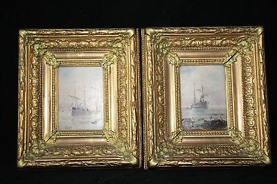 Pair Of'oil On Panels Marine Sign Lignot Late 19Th Boats Frame A763