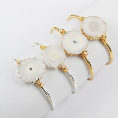 1Pcs Raw Natural Solar Quartz Cuff Bangle Wire Wrapped Gold Silver Plated HG1661