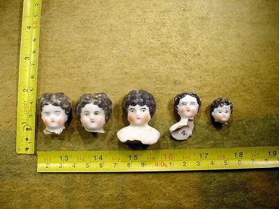 5 x excavated lovely painted vintage victorian Doll head Hertwig age 1860 12401