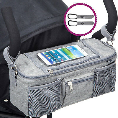 BTR Buggy Organiser Storage Bag for Prams, Mobile Phone Pocket Holder. Dove Grey