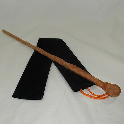 "16"" Hand Carved Mahogany Wood DE Skull Magic Wand Wizard Cosplay w/ Velvet Bag"