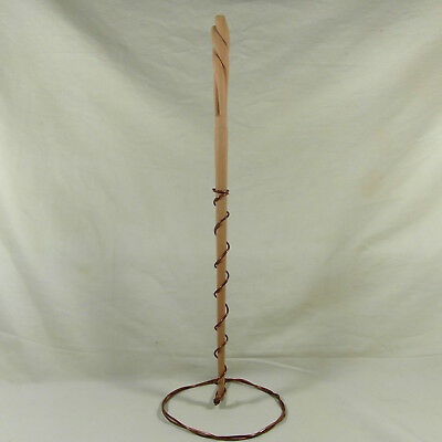 "16"" Long Bottom Hand Carved Mahoe Wood Magic Wand Wizard Witch w/ Velvet Bag"