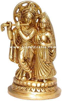 Radha Krishna - Brass Made Indian God Goddess Statue Figurine Handicrafts Statue