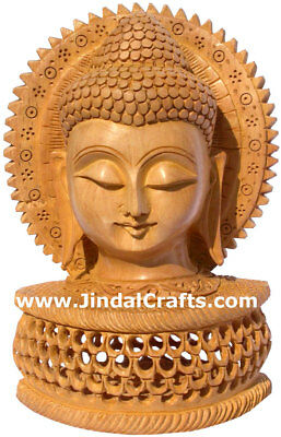 Handmade Wood Sculpture Buddha Head Figurine Indian Art Tibetan Figurine Crafts