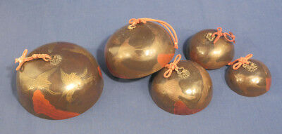 Antique 1800's Set of 5 Chinese Graduated Temple Bells Chimes Gongs Bronze Crane