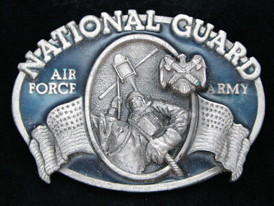 Ob03108 *Nos* Vintage 1982 **Army & Air Force National Guard** Military Buckle