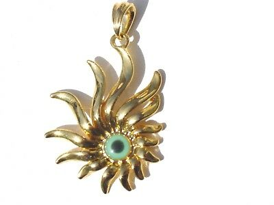 Gold Filled Italian Design Ancient Symbol Sun Flame  Evil Eye Pendant Necklace