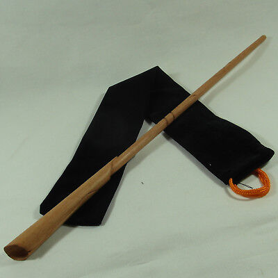 "16"" Hand Carved Newt Mahogany Wood Magic Wand Wizard Wicca w/ Free Velvet Bag"