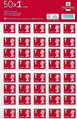 👑 2 x 50 x 1st class Royal mail large letter stamps