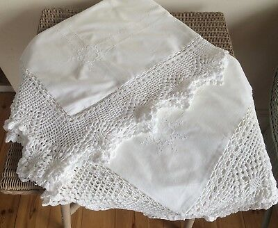Pair Vintage White Cotton Embroidered & Lace Edged Pillow Cases