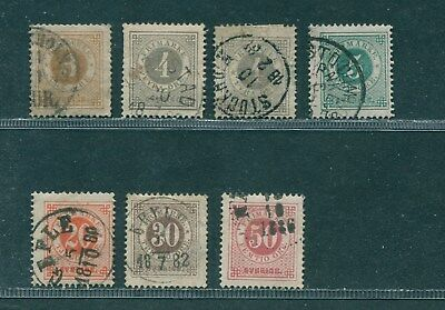 Sweden 1877-79 - 3o to 50 perf 13, 6 values (7 stamps) Sc #28 to #36 (3)