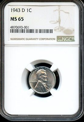 1943 D 1C Ngc Ms 65 (Mint State 65) Steel Lincoln Wheat Cent Ow519
