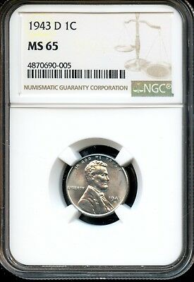 1943 D 1C Ngc Ms 65 (Mint State 65) Steel Lincoln Wheat Cent Ow523