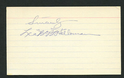 Lee Bobo Holloman (d. 1987) signed autograph Baseball 3x5 Index Card 2083-08