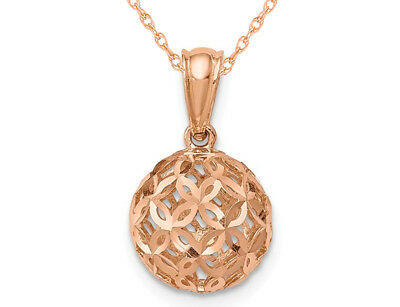 Ball Dangle Pendant Necklace in 14K Rose Pink Gold with Chain