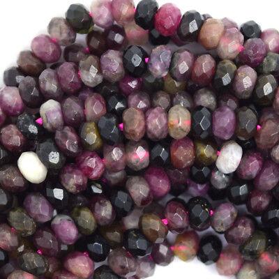 "Natural Faceted Watermelon Tourmaline Rondelle Beads 15.5"" 2x3 3x4 3x5 4x6 5x8"