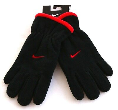 Nike Black & Red Micro Fleece Gloves Boy's Youth 8-20 NWT