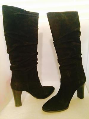 fc61c8d78f2 VIA SPIGA Black Ruched Slouch Suede Knee High Women s Boots Made in Italy -  7M