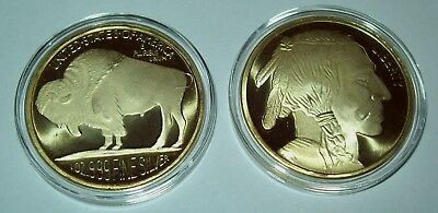 Buffalo Indian Head 1 Troy Oz .999 Fine Silver Round Gold Gilded One Ounce