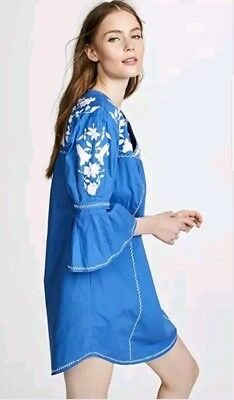 c7c914b3a3 Joie Clodah Embroidered Bell Sleeve Poplin Dress Baja Blue w White XS NWT   268
