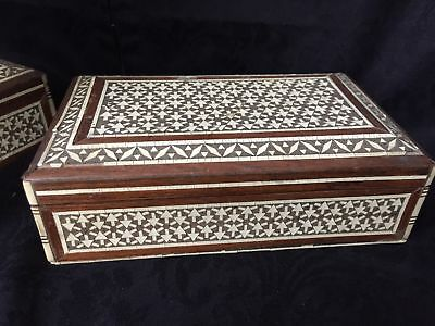 Box Wooden Syrian Marquetry Technique Inlay 1900 Condition E68