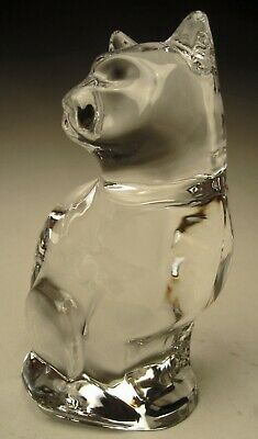 """Orrefors Signed Clear Lead Crystal Sitting Cat Figure made in Sweden 4"""" tall"""
