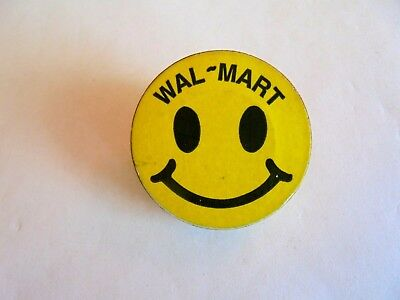 Vintage Wal Mart Smiley Face Wood Advertising Employee Pin 500