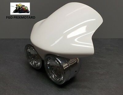 Optique Phare Moto Double Facon Speed Triple Chrome + Deflecteur Triumph