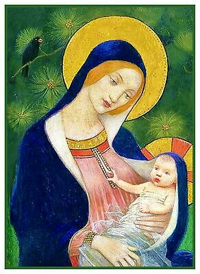 Pre-Raphaelite Marianne Stokes Madonna Firs Counted Cross Stitch Chart Pattern
