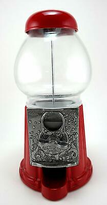 """GUMBALL MACHINE BANK Carousel King 15"""" Tall Die cast Metal Glass Globe Red NEW"""