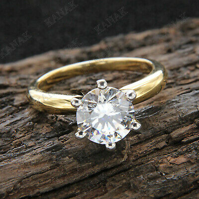 3 CT Diamond Round Cut Solid 10K Yellow Gold Solitaire Engagement Ring