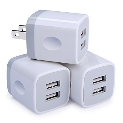 3 Pack Wall Charger USB Plug Dual Port Charging Block Fast Charging Cubes