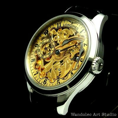 LONGINES Vintage Men's Wristwatch Stainless Steel Skeleton Mens Wrist Watches