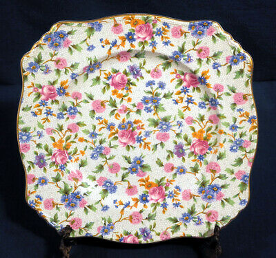 """Royal Winton Grimwades China Old Cottage Chintz Square Salad Plate 8"""""""